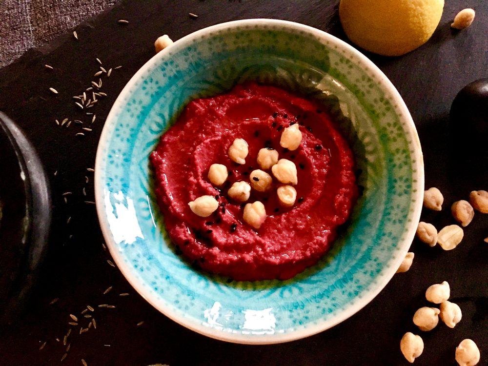 Hummus, Rote Bete, Kichererbsen, Dip, vegan, glutenfrei