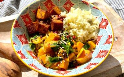 Mangold-Süßkartoffel-Curry auf Safran-Duftreis mit Knuspertofu